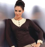 NEW WITH TAG  STYLISH SMART BROWN -CREAM BLOUSE SIZE 10